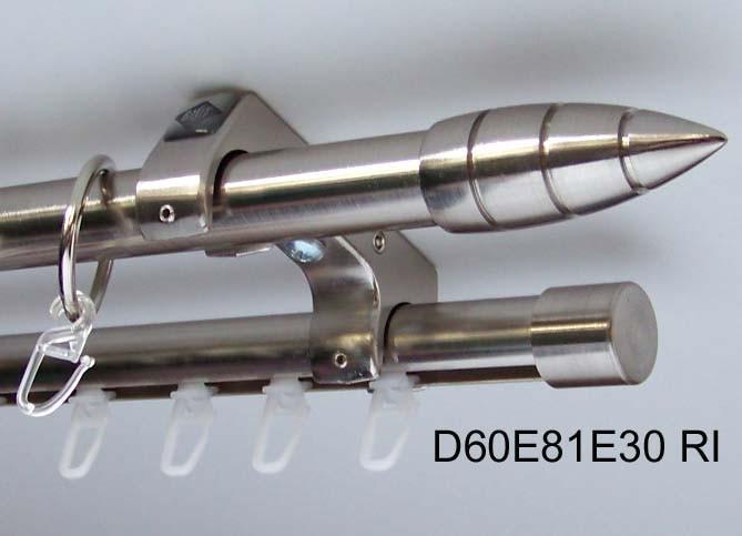 Hervorragend Rohr + Innenlauf Gardinenstange Edelstahl Look 20mm Decke 2-lauf  SS98